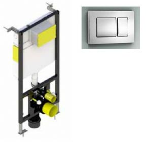 Aquafit  Wall Mounted Wc Frame 1.5m system inc Square Design Flush Plate T02-2113-KEY